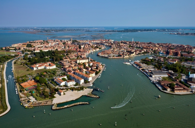 Italy, Venice, Murano Island and venetian lagoon aerial view